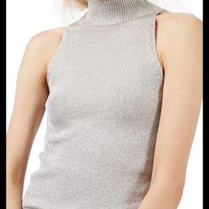 NWT Topshop Shiny Sleeveless Sweater